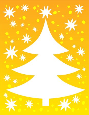 Cartoon  christmas tree silhouette on a yellow winter background. Vector