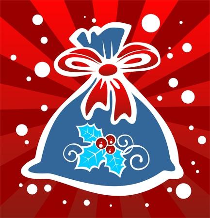 Cartoon Santas bag with gifts. Christmas illustration. Vector