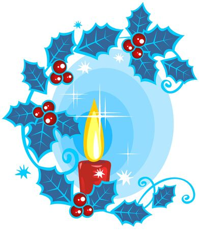 Stylized christmas candle and holly berry on a  blue background. Vector