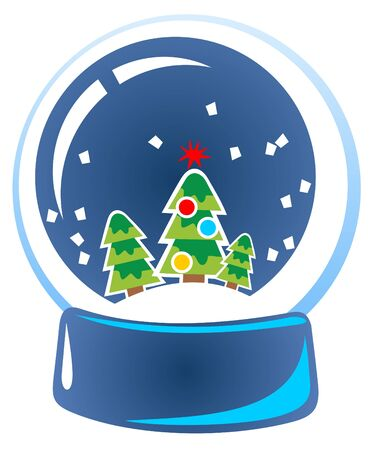 Cartoon snow globe isolated on a white background.