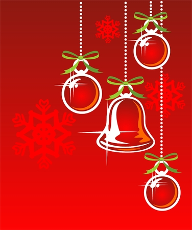 Cartoon christmas bell and balls on a red background.