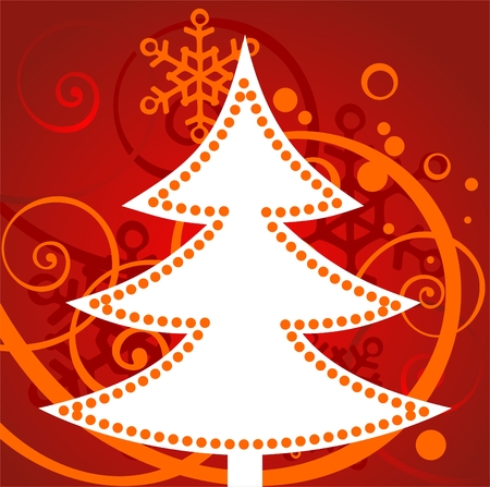 Cartoon  christmas tree silhouette on a red winter background. Stock Vector - 3843649