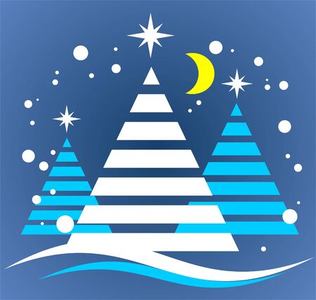 Cartoon christmas trees and moon on a night background. Vector