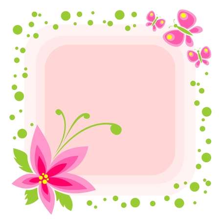 Cartoon flower and butterflies on a pink background. Illustration