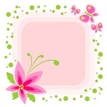 Cartoon flower and butterflies on a pink background. Vector