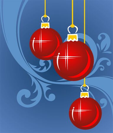 Red cartoon christmas  balls on a blue background. Illustration