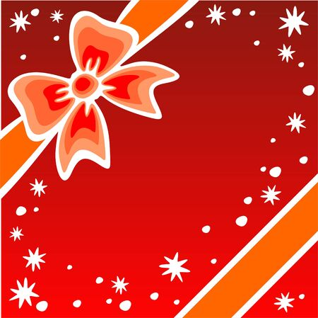 naranja caricatura: Orange arco de dibujos animados y las estrellas sobre un fondo rojo.