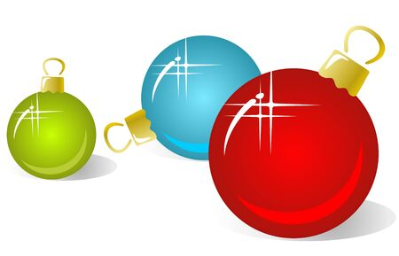 Three christmas  balls isolated on a white background. Vector