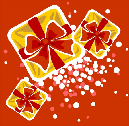 Three yellow gift boxes on a red background. Christmas illustration. Vector