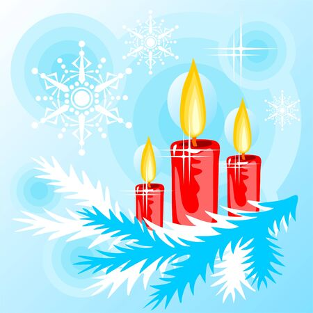 christmastree: Stylized christmas candles and christmas-tree branch on a  blue background. Illustration