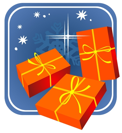 Cartoon red gift boxes on a blue background. Christmas illustration. Vector