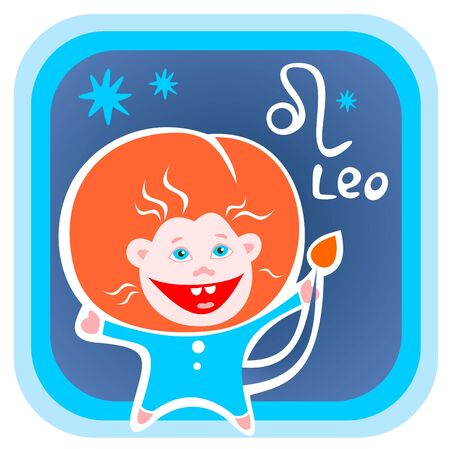 Happy cartoon Leo isolated on a blue background. Zodiac star sign. Vector