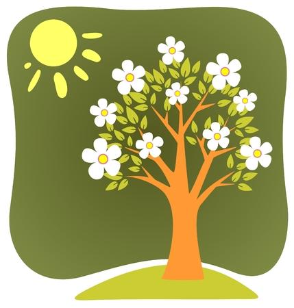 꽃이 만발한: Blossoming  cartoon apple-tree and sun on a green background. 일러스트