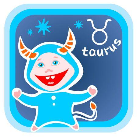 taurus sign: Happy cartoon Taurus isolated on a blue background. Zodiac star sign.
