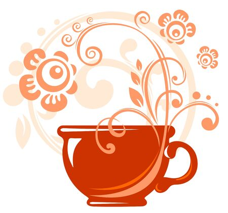 red tea: Stylized tea cup and flowers on a white background.