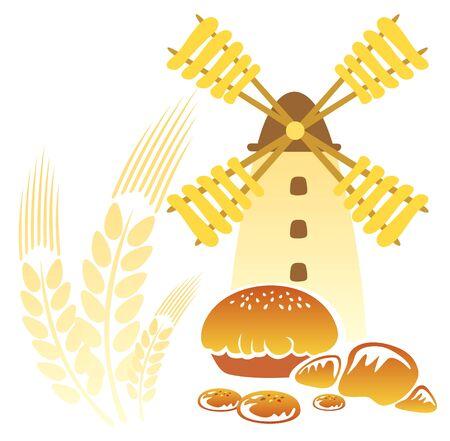 fruitcake: Cartoon retro windmill and  rolls on a white background.