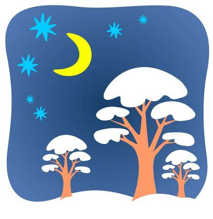 Three cartoon winter trees on a blue background.