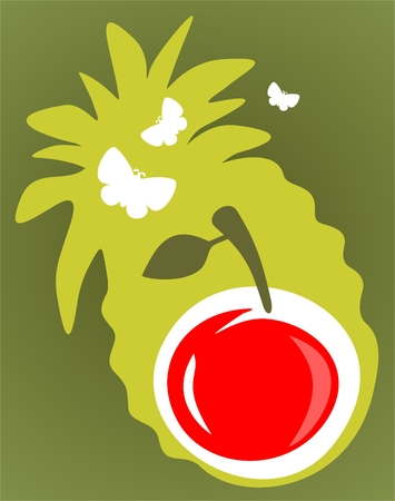 Cartoon apple on a green background with pineapple shadow. Vector