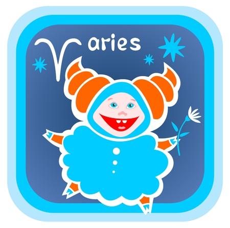 Happy cartoon Aries on a blue background. Zodiac star sign. Vector