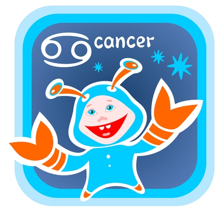 Happy cartoon Cancer on a blue background. Zodiac star sign. Vector