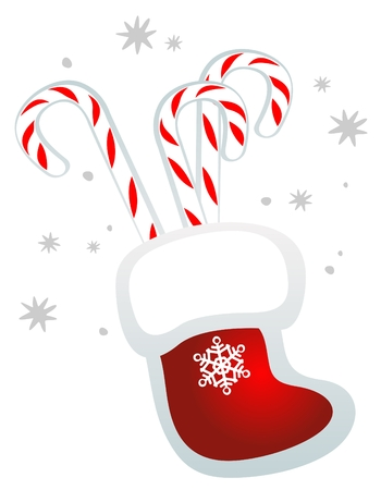 Candy canes and red Christmas stocking isolated on a white background. Vector