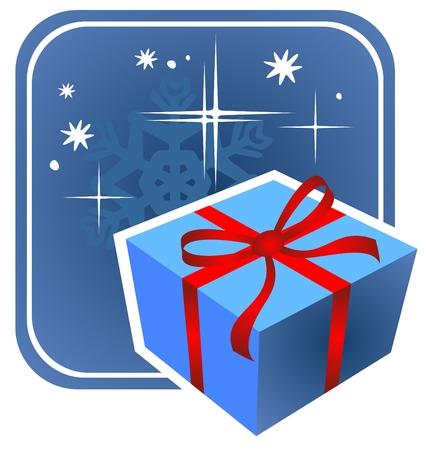 Cartoon blue gift box on a dark background. Christmas illustration. Stock Vector - 3894773