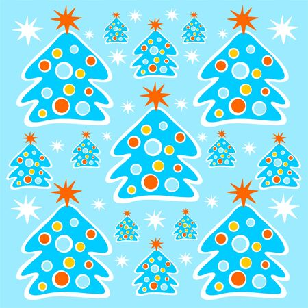 Cartoon christmas trees and stars on a blue background. Vector
