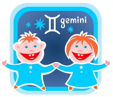 gemini: Happy cartoon Gemini on a blue background. Zodiac star sign. Illustration
