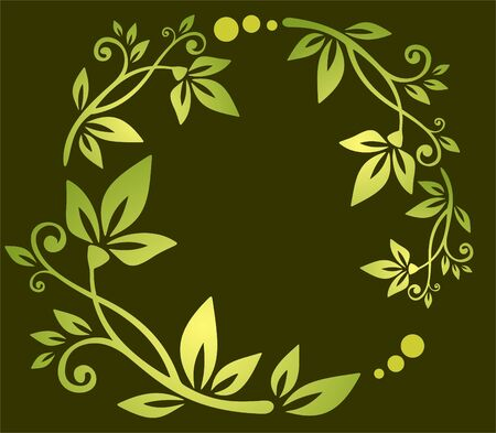 Abstract green floral pattern on a dark background.
