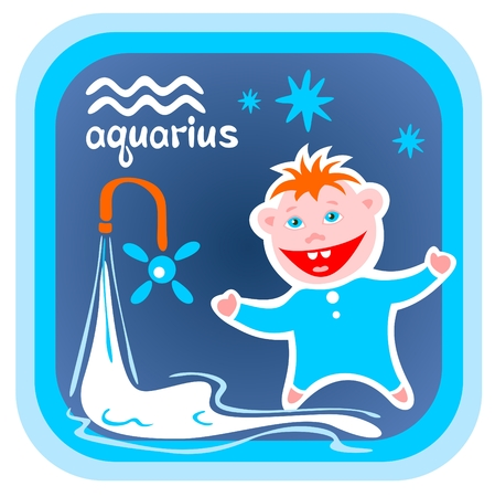 sign  childhood: Happy cartoon Aquarius on a blue background. Zodiac star sign.