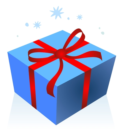Cartoon blue gift box isolated on a white background. Christmas illustration. Vector