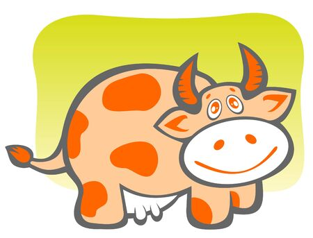 Cartoon cheerful happy cow on a green background. Illustration