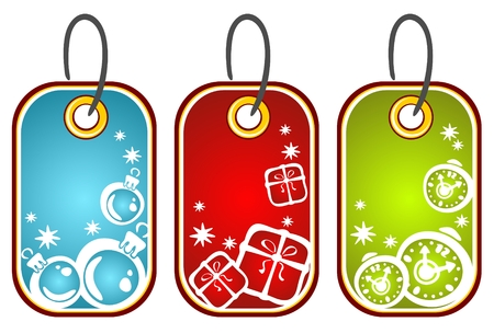 Three Christmas price tags isolated on a white background. Vector