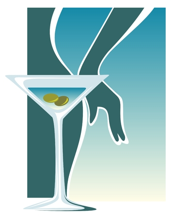 Stylized martini glass with olives on a blue background with woman silhouette.