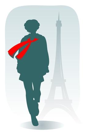 deiffel: The stylized parisian girl on a background of Tour dEiffel.
