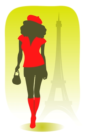 The stylized parisian girl on a background of Tour dEiffel. Vector