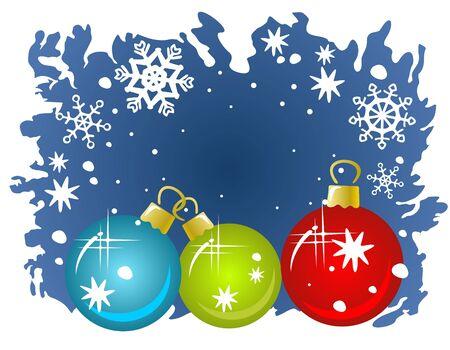 Three cartoon Christmas balls on a blue winter background. Vector