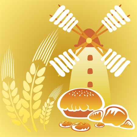 wheaten: Cartoon retro windmill and  cakes on a yellow background.