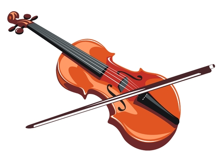 Stylized violin and bow isolated on a white background.