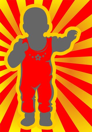 Gray baby silhouette  on a red striped background. Stock Photo