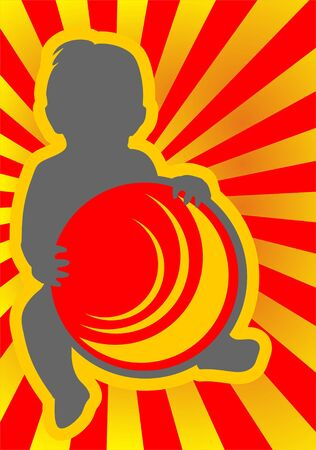 Gray baby with ball silhouette on a red striped background.