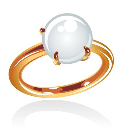 Stylized gold ring with pearl isolated on a white background. photo