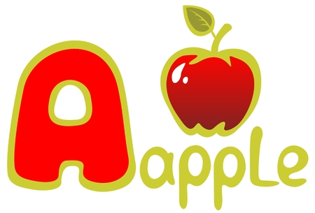 Letter A and apple isolated on a white background. Alphabet sign. Illustration