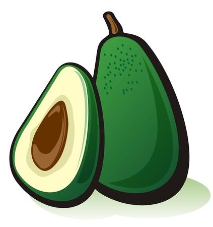 Stylized ripe avocado isolated on a white background.