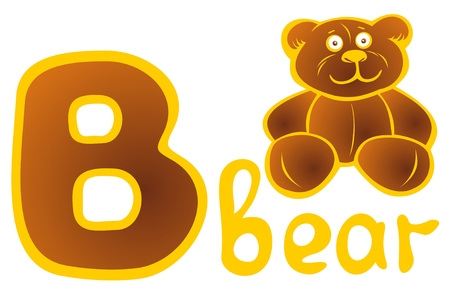 letter alphabet pictures: Letter B and toy bear isolated on a white background. Alphabet sign.