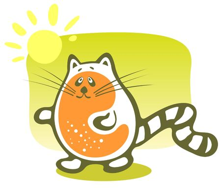 frisky: Cartoon happy cat and sun on a green background. Illustration