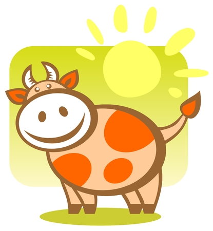 Cartoon cheerful happy cow on a green background with sun. Zodiac sign. Stock Vector - 3966036