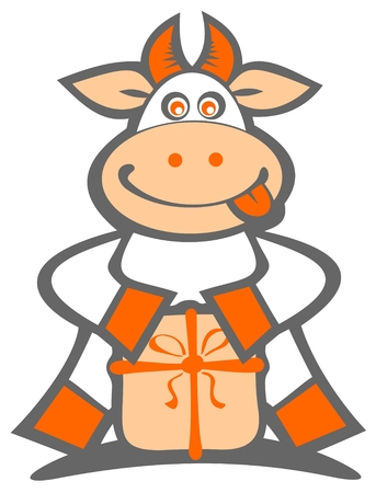 Cartoon happy cow with gift box isolated on a white background. Vector
