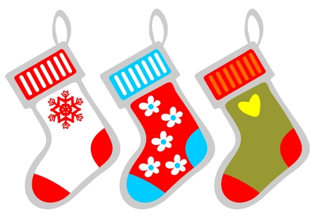 Three stylized Christmas stocking isolated on a white background. Vector