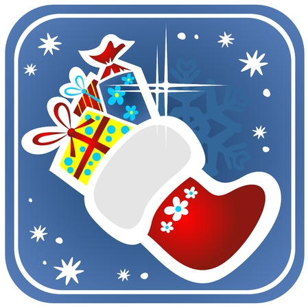 Cartoon Christmas stocking with gifts on a blue background. Vector